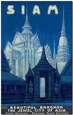 "Vintage Illustrated Travel Poster CANVAS PRINT ~Siam Bangkok Thailand 8""X 12"""