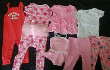 Lot of 7 Summer Baby Girl Clothes Outfits 12 18 Months Rompers, Tops, Pants EUC