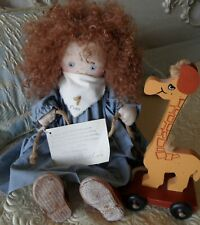 Jan Shackelford 1992, Fran Country Doll with Giraffe Wooden Toy, Le #68 of 125