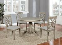 Beautiful 5PC Wood Round Dining Table Set, Grey Hardwood Table Surface & Chairs