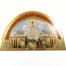 "Our Lady of Fatima wood icon 7"" (18cm) Catholic standing plaque gold colour gift"