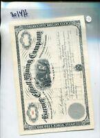 HARVEY ELLIOTT MINING STOCK CERTIFICATE 1880'S NEW YORK 8014H