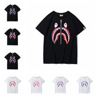 Bape A Bathing Ape T-shirt Tee Zipper Shark Jaw Men's Top Crew Neck Short Sleeve