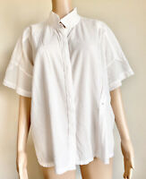 Humanoid Top Blouse Medium Wrinkled  Off White  Cotton Shirt Relax Classic EUC