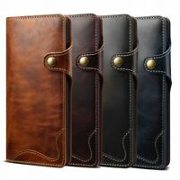 For Samsung Galaxy S20+ S10 Note 10+ 100% Genuine Leather Wallet Flip Cover Case
