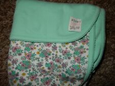 30x30 CARTER'S Mommy Loves Me Teal Floral Receiving Baby Crib Blanket Lovey
