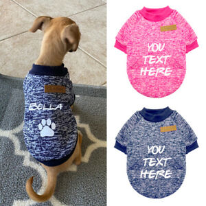 Personalised Pet Dog Sweater Warm Winter Puppy Cat Coat with Name Jumper Clothes