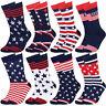 Falari 8 Pairs Men Patriotic American Flag Colorful Novelty Casual Dress Socks