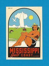"VINTAGE ORIGINAL 1949 SOUVENIR ""MISSISSIPPI"" GULF COAST PINUP WATER DECAL ART"