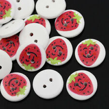 The Bead and Button Box - 10 wooden Strawberry buttons, 15mm