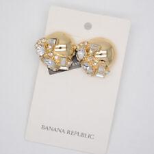 Banana Republic jewelry gold tone polished post stud earrings cut crystals