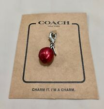 COACH SILVER METAL APPLE SMALL CHARM  SILVER/RED  NWT