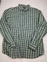 Banana Republic Mens Shirt Green Blue Plaid Button long sleeve large 16-16.5 V9