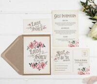 Rustic Rose Wedding Invitation Set (Ivory)