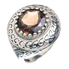 Rauchquarz facettiert Ring 925 Sterling Silber Gr 17 Handarbeit 20mm