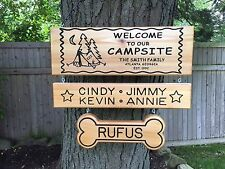 Personalized Custom Made Carved Family & Pet Camping Cedar Wood Sign / Plaque