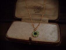 Vintage Jewellery Peridot & Emerald Green Crystal Drop Gold Pendant Necklace