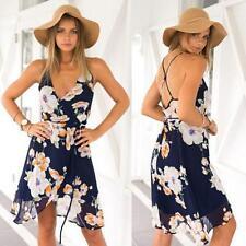 2016 Summer Backless Dress Women Ladies Bohemia Sexy Chiffon Dress Condole Belt