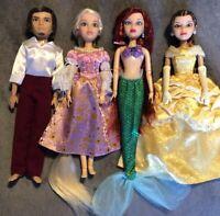 Lot 4 Custom OOAK Disney Liv Dolls Ariel Belle Rapunzel Flynn Tangled Mermaid