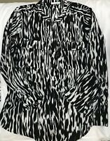 Ladies Calvin Kline Blouse Shirt Top Animal Print Black White Flowing Sz XL