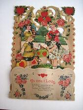 Vintage Antique Pull-Down Valentine Chinese Lanterns,Teddy Bear & Duck w/Hat *
