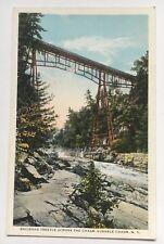 NY Postcard Ausable Chasm New York Railroad Trestle across the Chasm RR bridge
