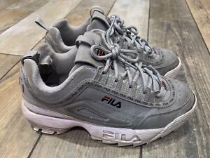 Chunky Thick Sole Girls Fila Disruptor in grey Trainers Size Uk 5