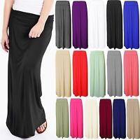 S193 LADIES WOMENS FOLD OVER HIGH WAIST LONG PLEATED JERSEY MAXI GYPSY SKIRT
