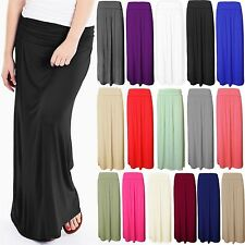 LADIES WOMEN FOLD OVER TURN UP WAIST PLEATED VISCOUS JERSEY LONG MAXI SKIRT