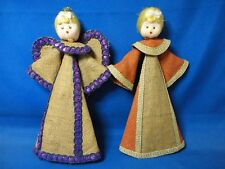 Vintage Burlap/Cardboard Christmas Angels Tree Topper Ornaments