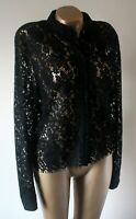 Blouse Shirt Laura Ashley Size 16 Black Lace Long Sleeve Top Flawless