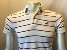 Hollister Men's Brown White Striped Polo Short Sleeve Shirt Size Small