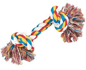 """New Zanies Knotted Rope Bones Chew Dog Toy 8.5"""""""