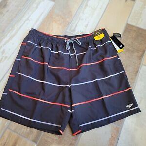 NWT Speedo Men's Swim Shorts Sz. XXL  Black Striped NEW