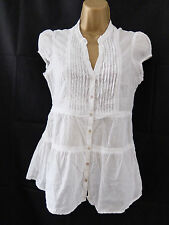 H&M ● size 10 38 ● white open front summer blouse top womens ladies