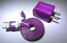 For Barnes & Noble Nook Color ON LED Wall Charger & USB Data Charge Cable Purple