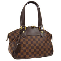 LOUIS VUITTON VERONA PM HAND BAG SD2181 PURSE DAMIER EBENE N41117 AUTH 02218