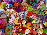 50g Wooden & Plastic Mixed Lucky Dip Buttons (Approx 150) Cats Elephants Flowers