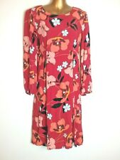 TU 10 Tall L41 Red Mix Smart Long Sleeve Spring Summer Work 70's vibe boho Dress
