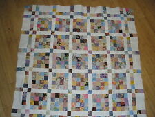 "Floral Multi-Color Quilt Top Pieced with backing and binding Cotton New 48""x48"""