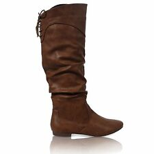 WOMENS FLAT ZIP UP SLOUCH MID CALF LACE RIDING CASUAL BOOTS SHOES SIZE 3-8