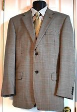 Andrew Fezza 40R 2 Button 100% Worsted Wool Beige Houndstooth Sports Jacket