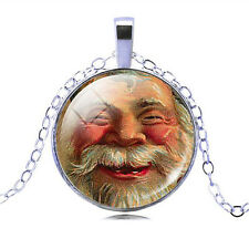 Vintage Style Santa Claus Face Christmas Gift Party Pendant Necklace N444