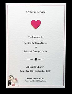 10 Personalised Wedding Orders of Service with Insert.