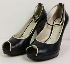 BCBGirls Blue leather beige trim womens open toe pumps ankle strap heels 6.5B