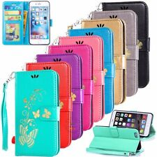 FZ12 Luxury Butterfly Gold Stamping Wallet Leather PU Case Flip Cover Card Slots