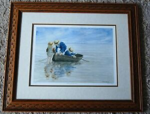 """Sea View Watercolour Signed Print of Boating Children """"Pushing the Boat Out"""""""