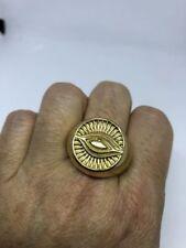 Vintage Golden Stainless Steel Illuminati Eye Crest Size 12 Men's Ring