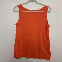 Ann Taylor Loft Womens Tank Top Orange Heathered Scoop Neck Pocket 100% Cotton M