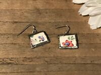 Recycled Broken Porcelain Jewelry, Vintage Floral Earrings